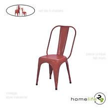 Set de 4 chaises en métal rouge vintage pour cuisine ou salle à manger