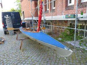 DDR Faltboot Zweisitzer,RZ 85 Exquisit, starke Gebrauchsspuren,  Segel und Ruder
