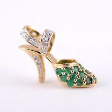 Green Emerald and Diamond High Heel Shoe Pendant Charm in Solid 10K Yellow Gold