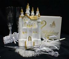 SALE Fairytale Castle Cake Topper wedding LOT Glasses Server Knife Guest book