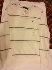 Nautica Stripe Men's V Neck Cotton Sweater Long Sleeve Shirt White