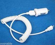 2A Car Charger+Coiled USB Cable WHITE 4 Samsung Galaxy Alpha Note 4 S5 Active S4