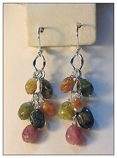 Watermelon Tourmaline Gemstone Earrings, Silver, Long 2-1/4 Inches