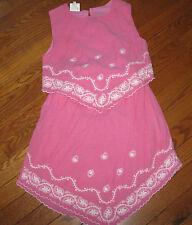 2PC Designer CHARABIA Girls Pink embroidered gauze Skirt & Top Set sz 10 ans