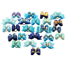 20X Blue Boy Dog Hair Bows W/Rubber Band Pet Rhinestone Grooming Hair Accessory