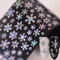 Holographic Christmas Nail Foils Snowflake Nail Art Transfer Stickers Decals DIY