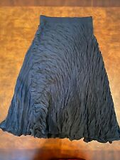 DKNY Silk Maxi Skirt Flamenco Black Grey Textured Quilted Size Small
