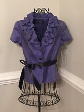 Adrianna Papell Evening Women's 10 Shiny Purple Short Sleeve Ruche Jacket Top