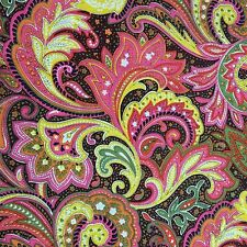 150cm Wide Brown with Multi-coloured Paisley Print 100% Cotton Poplin by Meter