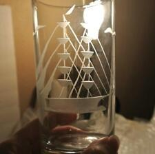 Set 6 Nautical Mid Century Glass ETCHED SAILBOAT Glasses Tumbler Highball * GIFT