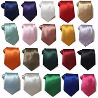 Standard 9cm Wide Mens wedding event prom party plain Satin necktie tie UK