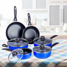 10 Pcs Nonstick Ceramic Cookware Set Pots Sauce Fry Pan Glass Lid - Blue Black