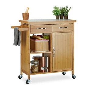 Küchenwagen Holz Servierwagen Teewagen Küchenrollwagen Allzweckwagen Bambus
