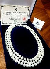 Vtg.CAMROSE & KROSS JBK Jackie Kennedy Triple Strand Faux Pearl Necklace