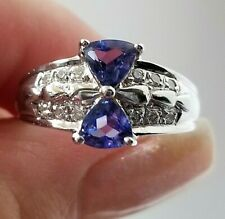 Double Trillion Tanzanite Diamond 18k white gold ring/band