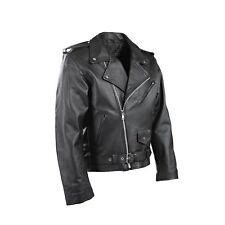 Mens Motorbike Perfecto Brando 100 Leather Jacket Black Biker Lining