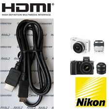 HDMI Cable for Nikon 1 J1 AW1 DF D5300 D600 D610 D7000 D7100 D800 D800E D810 D90