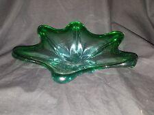 "Vintage Green Light Blue Art Glass Star Shaped Dish Bowl 3 lbs 11""x11""x3"" USED"