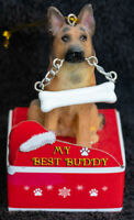 German Shepherd Statue with Bone Best Buddy Dog Breed Christmas Ornament