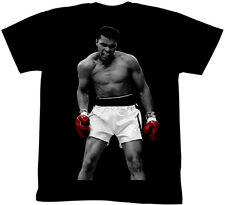 Muhammad Ali Ring Photo Red Gloves Adult T Shirt Boxing Champ