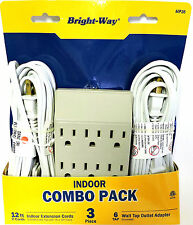 2 pack Extension Cord & 6 Way Wall Tap Combo Pack Christmas llghting Tree