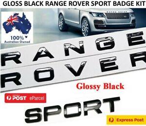 GLOSS BLACK RANGE ROVER + SPORT BADGE KIT HOOD BONNET REAR TRUNK LETTER DECAL