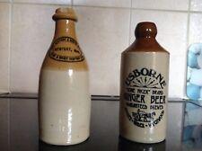 2 Vintage Stoneware Bottles, Usborne Ginger Beer, Newport Wine Comp.