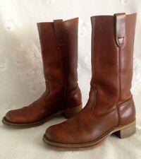 Vintage All Leather Campus Boots Cognac Unbranded Mens? Size 6D See Measurements