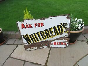 Vintage 1920s Enamel Sign Whitbread Brewery Beer Advertising Sign used condition