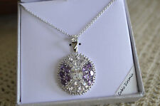 Purple & Clear White CZ Round Pendant Silver Plated Necklace Gift Box