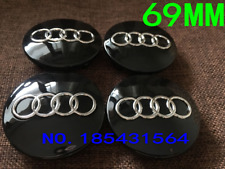 4 x Audi Alloy Wheel Centre Caps 69mm Black - OEM Fit A1 A3 A4 A5 A6 A7 Q3 Q5 Q7