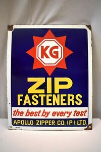 "Vintage KG Zip Fasteners Sign Board Porcelain Enamel Apollo Zipper Co Collectib"""