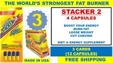 3 STACKER2 2 WORLD'S STRONGEST FAT BURNER DIET 3 TIME ENERGY 3x4 = (12 Capsules)