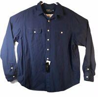 POLO RALPH LAUREN Men's Blue Long Sleeve Button Down Shirt Size 2XL XXL Pockets