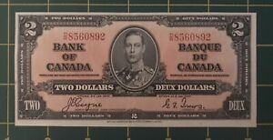 1937 BANK OF CANADA 2 DOLLARS BANK NOTE COYNE/TOWERS UNC ? DR8560892