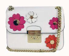 ** MICHAEL KORS SLOAN Floral White Leather Shoulder Crossbody Bag Msrp $298.00