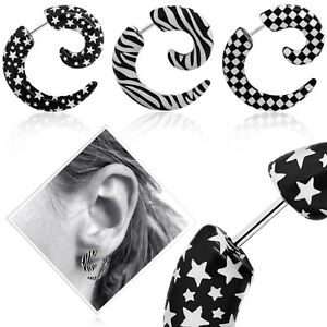 Earring Fake Spiral Stretcher Taper Plugs Earstuds Tunnel Piercing Stars Acrylic