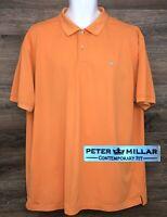 Peter Millar Men Contemporary Fit Orange Short Sleeve Golf Polo Casual Shirt XXL