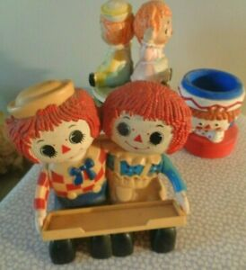 Vtg Lot of 3 Raggedy Ann Andy Wind-up Music Box Candleholder Pencil Holder 1975