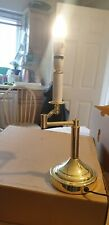 VINTAGE BRASS TALL SWING ARM LAMP AND NEW BLACK SHADE / WORKING ORDER