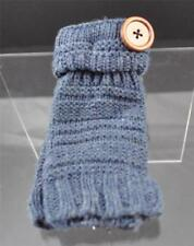 New Dusty Blue Knit Texting Fingerless Gloves Button Trim B8