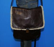 CROWN CAP NATHANIEL COLE Brown Field Daily Messenger Tote Shearling  Purse Bag