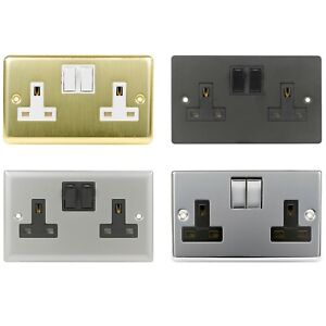 Double Wall Plug Socket 2 Gang 13A Switched Electrical Outlet Metal Flat Plate
