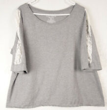 Cacique Sleepwear Shirt Nightshirt Pajama Top Gray Lace Womens Plus size 22 24