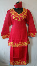 Women African Skirt Suit Attire Dashiki Ethnic Red Free Size Print # 9161