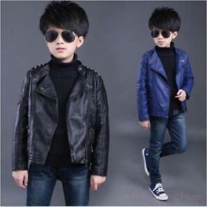 Cool Boys Kids Leather Coat Lapel Rivet Studded Jacket Casual Motorcycle Outwear