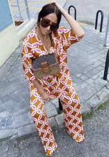 Zara Pink Orange Pyjama-Style Top Trousers Printed Matching Co Ord Set Size M.
