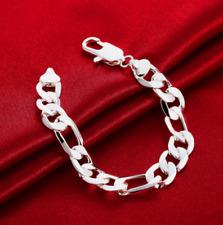 Mens Womens 925 Sterling Silver 12mm Figaro Cuban Flat Link Chain Bracelet #B429
