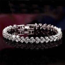 Elegant Women Roman Chain Clear Zircon Crystal Rhinestone Bangle Bracelet Gift