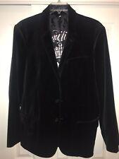 JUICY COUTURE Mens Size 44 Black Velvet Blazer EXTREMELY RARE Classy Coat